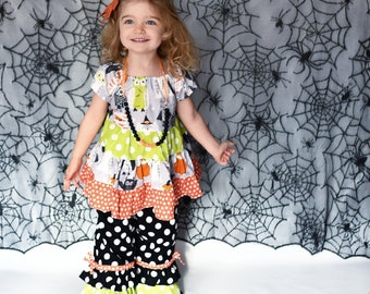 Girls Halloween Outfit - Girls Outfit- Baby Halloween Owl Shirt - Girls Halloween Set - Toddler Outfit - Halloween Outfit -Halloween Dress