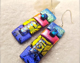 Fused glass jewelry, Dichroic glass Earrings, dichroic glass, dichroic, statement jewelry, jewel toned earrings, handcrafted earrings