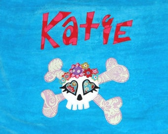 Personalized Large Turquoise Velour Beach Towel with Cute Sugar Skull and Crossbones, Pool Towel, Kids Bath Towel, Camp Towel, College Towel