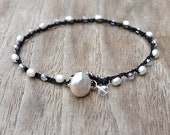 RESERVED for VICKY, Black and White Jewelry, Dainty Crocheted Jewelry, Pearl Bracelet made in Hawaii,  Boho Mod Summer Style