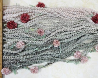 Handspun Flower Yarn Gradient Art Yarn 50 yards light pink to sage grey