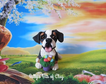 READY to SHIP! One of a Kind Swiss Mountain Dog with Easter Eggs hand sculpted by Sally's Bits of Clay