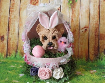 READY to SHIP! One of a Kind Yorkie Yorkshire Terrier dog in Easter Egg hand sculpted by Sally's Bits of Clay