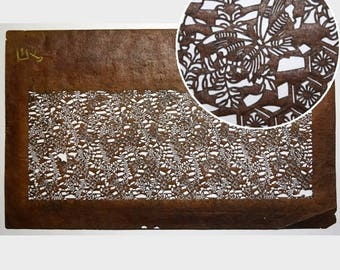 """Vintage Japanese Katagami Stencil Persimmon Paper Meiji Period """"Antique and Amazing"""""""