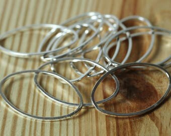 Silver plated oval link connector charm size 26x16mm, 12 pcs (item ID FA00798SP)