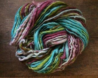 Sunshine of Your Love, handspun bulky yarn, 86  yards, bulky yarn, rustic art yarn, chunky yarn, wool handspun yarn