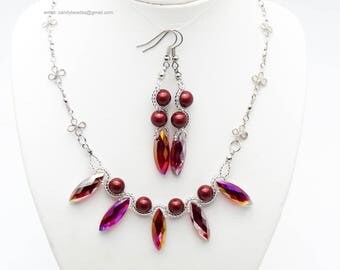 Red burgundy pearl necklace;Beaded necklace; Swarovski necklace;Crystal necklace;Swarovski beads; glass beads