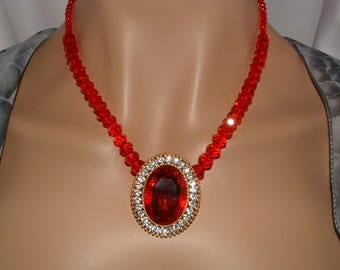 Red Crystal Necklace Red Focal Slider Party Glass Beads Necklace Wedding Anniversary