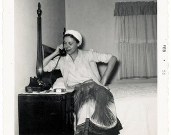 Vintage photo 1950 Woman on Bed Side Telephone Hand on Hip Amazing Skirt Snapshot