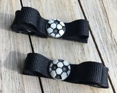 Soccer Ball Hair Clips, Sports Hair Bow, Soccer Uniform Bow, Soccer Bows - Buy 3 Items, Get 1 Free