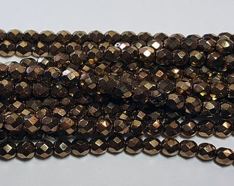 50 - Vintage Czech Fire Polished Glass 4mm Faceted Round Beads - Metallic Bronze
