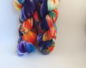 "Wool Cashmere blend sock yarn, colorway ""Magic Carpet"" in stock, ready to ship!"