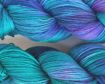 "Luxurious sock yarn 70/30 wool silk blend - ""Aquamarine"" - in stock ready to ship"