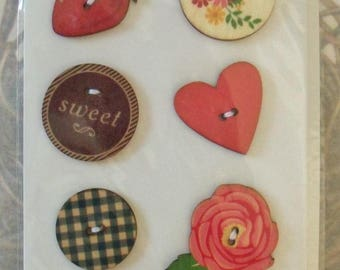 American Crafts (TM) Wood Veneer Buttons For Delicate Details / Two Hole Design / Whittles / Cupcake