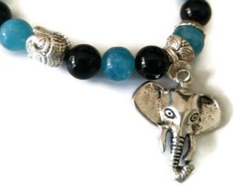 Black agate bright blue aquamarine Buddha bead elephant charm beaded gemstone stretch bracelet