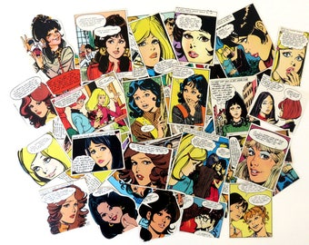 80+ 1970s Vintage Paper Ephemera Collage Kit, Scrap Pack Mod Romance Girl Comic Illustrations Die Cut Lot, Scrapbooking, Decoupage Images