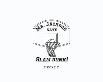 Xmas in July Basketball Slam Dunk Teacher Coach Custom Rubber Stamp AD366