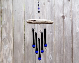 Black and Blue Glass Wind Chime with Oregon Driftwood, Glass Chimes, Black and Blue WindChime, Blue and Black