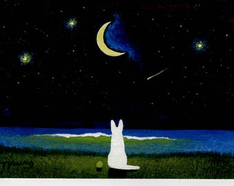 White German Shepherd Dog Seascape Moon Stars original art painting by Todd Young