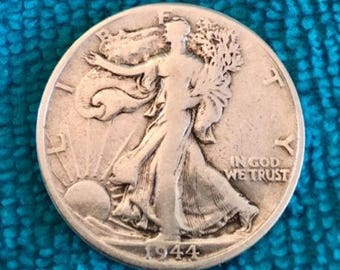 1944 D Half Dollar V.G. Toned Patina SILVER STANDING LIBERTY Coins  Harder to find - Free Usa Shipping