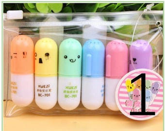 Vitamin Highlighter, Pill Highlighter, Set of 6 Highlighters, Colorful Highlighters Shaped Like Pills Vitamins, Kawaii Pen Set