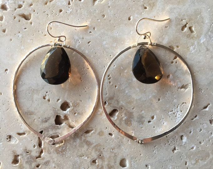 Hammered Sterling Silver Riveted Circle and Smoky Quartz Earrings Boho Gift Unique Textured