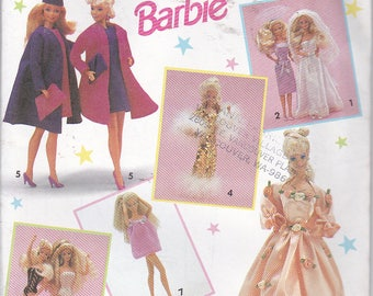 """Simplicity 7601 Barbie Fashion Doll Clothes Wardrobe Bridal Evening Gown Swimsuit Coat Hat Sewing Pattern Sizes 11.5-12.5"""" OOP UNCUT"""