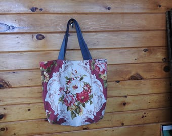 Vintage fabric floral tote