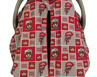 Fitted Car Seat Canopy~Ohio State with Red Minky Interior~Custom Car Seat Cover~Unique Design