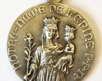 Large Antique French Medal Our Lady of the Thorn Sterling Silver