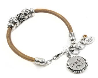 Personalized Word Leather Bracelet with Crystal Weave Beads in Stainless Steel with choice of leather color