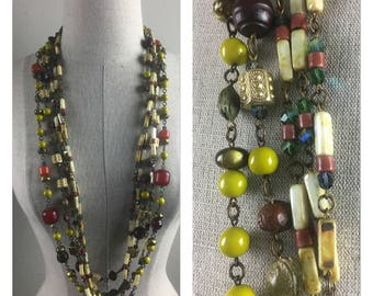 Vintage 70s beaded costume Jewelry necklace