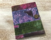 COMPOSITION Notebook Book Cover - quilted fabric collage - hand dyed fabric collage