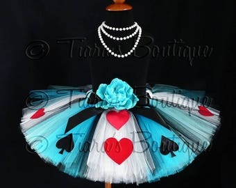 "SUMMER SALE 20% OFF Tutu - Alice of Hearts - A Tiara's Boutique Original Design - Custom Sewn Tutu - Up to 12"" Long - girls size 6 to 8"