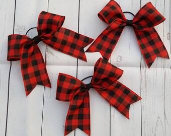 Buffalo Plaid hair bow, buffalo check oversized hair bow, cheer bow, cheerleader bow, softball bow, red and black Christmas bow hair tie