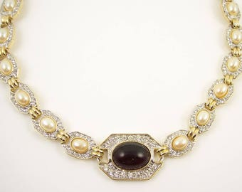 Vintage Donald Stannard Rhinestone Cabachon Necklace