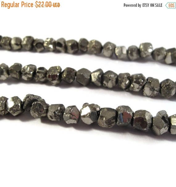 Summer SALEabration - Pyrite Nugget Beads, 8 Inch Strand, 7mm-9mm Natural Gemstones for Making Jewelry, About 25 Rough Natural Pyrite Beads