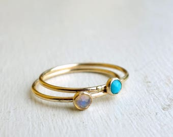 Teeny 14k Gold-Fill Rings with Rose Cut Turquoises and Opals