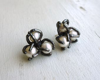 Triple Pearl Cluster Studs - Handmade in Oxidized Sterling Silver