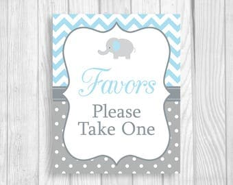 Printable 5x7, 8x10 Favors Please Take One Elephant Baby Shower Favor Sign - Light Blue and Gray Chevron and Polka Dots - Instant Download