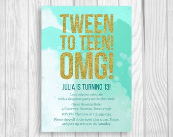 Custom Printable 5x7 Tween To Teen Girl's 13th Thirteen Birthday Party Invitation - Mint Teal Watercolor & Gold Glitter - Digital Download