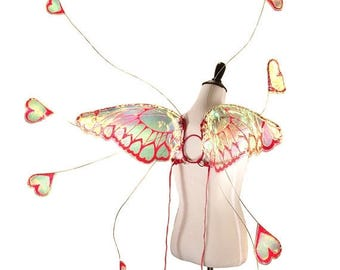 Christmas in July SALE Aphrodite No. 1 - Medium Cellophane Fairy Wings in Red Glitter