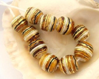 10 Golden Striped Handmade Lampwork Beads
