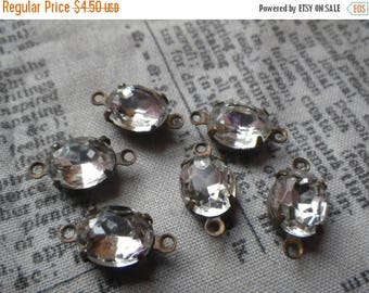 SALE 30% Off Vintage Crystal Clear 10x8mm Foiled Oval Glass Rhinestone Brass Ox Connectors Two Loops 6 Pcs