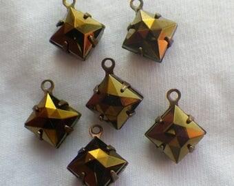 SALE 30% Off Foxy Brown Iris 8x8mm Square Rauten Rose Glass Drops One Loop 6 Pcs