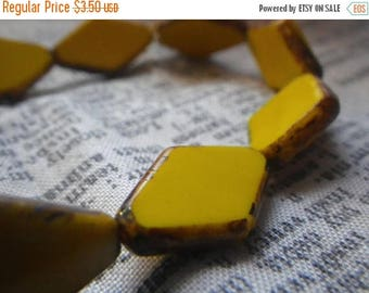 SALE 30% Off Opaque Yellow with Picasso Diamond New Czech Pressed Glass Beads 20x12mm 25 Pcs