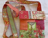 Rust and greens, hand made, fabric cross body or shoulder BoHo bag in a mixture of furnishing fabrics