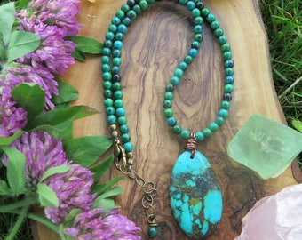 Turquoise and Chrysocolla Choker / Collar - Blue Brass Gold -  Colorful Gypsy Jewelry - Boho Gemstone Festival - Funky Inbloom - Bohemian