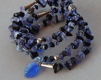 """Black onyx and blueberry hards wrap around bracelet 29"""" long"""