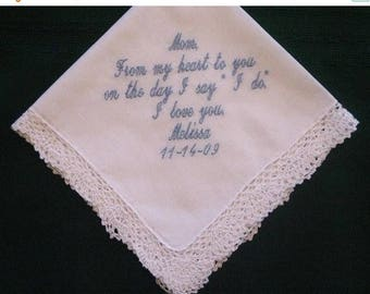 ON SALE Embroidered Mother of the Bride Gift – Mother of the Bride Handkerchief – Wedding Handkerchief – Personalized Hankie 58S